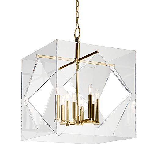 (Travis 8-Light Chandelier - Aged Brass Finish with Clear Acrylic Shade)