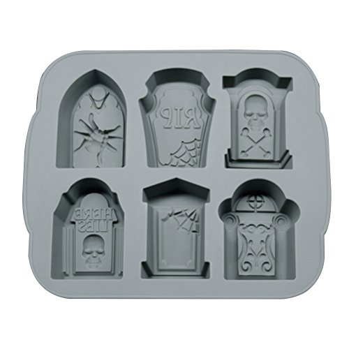 Halloween Tombstone Silicone Ice Cube Chocolate Mold Cocktails Whisky Ice Mould Tray Makers Bar Party Accesory (Grey) -