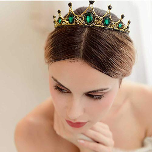 Tgirls Baroque Bride Wedding Queen Crowns and Tiaras Rhinestones Vintage Bridal Pageant Headband for Women
