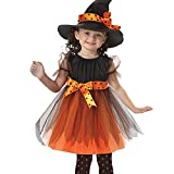 BulzEU Kids Halloween Costumes Miss Witch Girls Yarn Fancy Dress with Hat Outfit for Toddler Girl - 2-15 years old Party Cosplay Clothes (110cm)