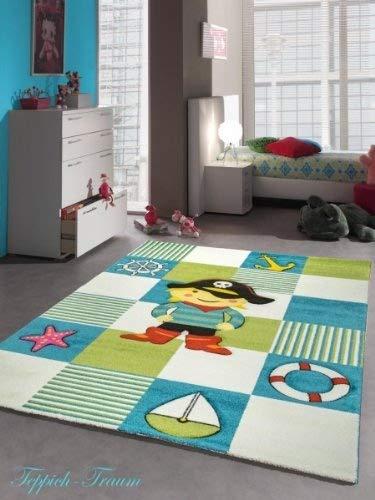 Kinderteppich Spielteppich Kinderzimmer Teppich Pirat in Türkis Weiss Grün Größe 140x200 cm