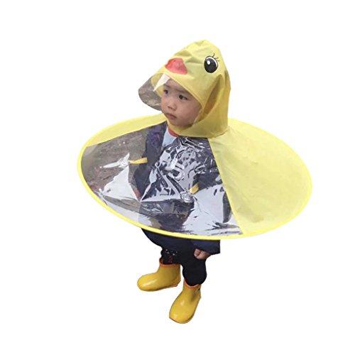 Lafuncosa Child Yellow Duck UFO Raincoat Hand Free Umbrella Cloak S (Kid Height 35