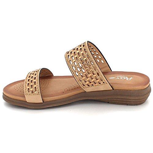 AARZ LONDON Women Ladies Diamante Open Toe Summer Evening Casual Comfort Lightweight Wedge Sandals Shoes Size Beige GQLQL
