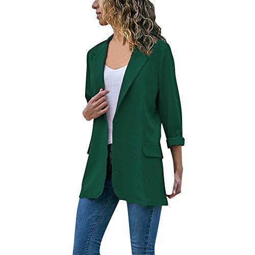 DAYLIN 2018 Mujer Blazers Otoño Invierno Moda Manga Larga Color Sólido Chaquetas Cardigans Abrigos Verde