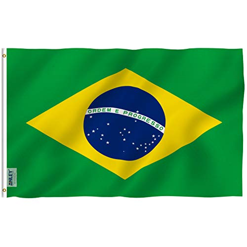 Anley [Fly Breeze 3x5 Foot Brazil Flag - Vivid Color and UV Fade Resistant - Canvas Header and Double Stitched - Brazilian National Flags Polyester with Brass Grommets 3 X 5 Ft