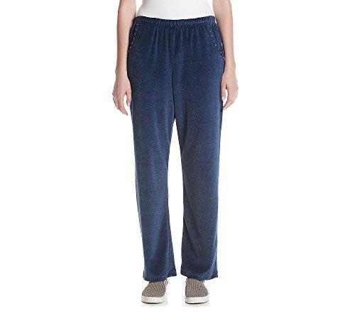 Alfred Dunner Women's Petites' Velour Short Pants Dark Bl...