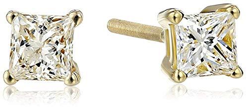 IGI-Certified 14k Yellow Gold Princess Diamond Stud Earrings (1/2 cttw, H-I Color,I1 Clarity)