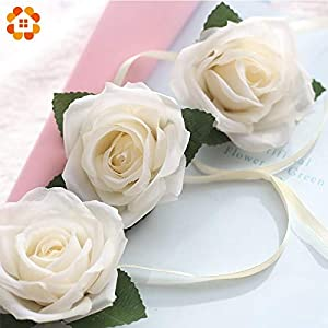 Sala-Tecco - 1PC 75MM White Rose Artificial Flowers Rose Silk Flowers Artificial Flower Heads with Ribbon Wedding Favors DIY Decoration 14