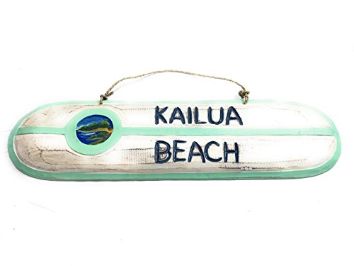 (Tikimaster Kailua Beach Wooden surf Sign 20