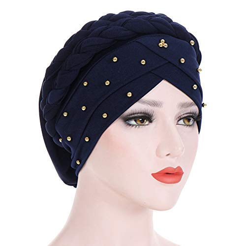 CHIDY Women Beading India Hat Muslim Ruffle Beanie Scarf Turban Wrap Cap Twisted Beaded Beads Accessory Hat ()