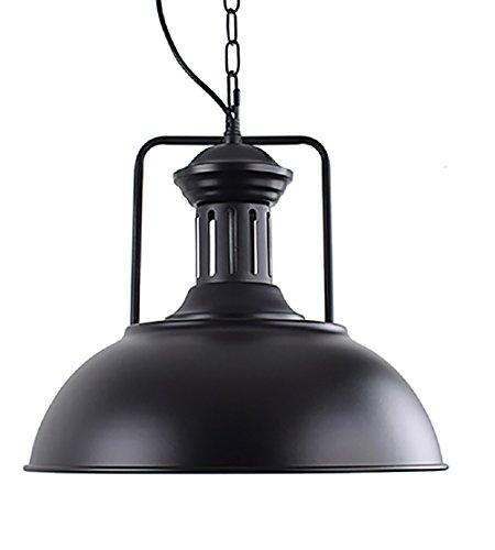 OYI Vintage Nautical Barn Pendant Light, Retro Industrial Pendant Lighting Oil Rubbed Rustic Dome Bowl Shape Mounted Light Fixture Ceiling Lamp (Black)