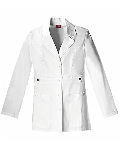 (Dickies Women's Gen Flex Junior Fit Contrast Stitch Lab Coat, White, Small)