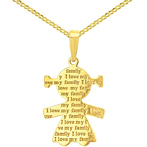 14K Yellow Gold Little Girl Charm with I Love My Family Engraved Script Pendant Cuban Chain Necklace, 16'' by JewelryAmerica (Image #5)'
