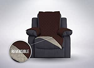 The Original SOFA SHIELD Reversible Slipcover Furniture Protector, Features 2 Inch Elastic Strap (Recliner Oversized: Chocolate/Beige)