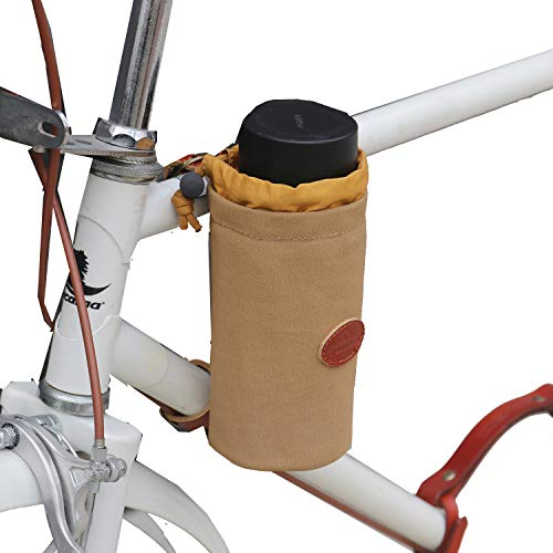 TOURBON Canvas and Leather Bicycle Water Bottle Cup Holder Wine Carrier