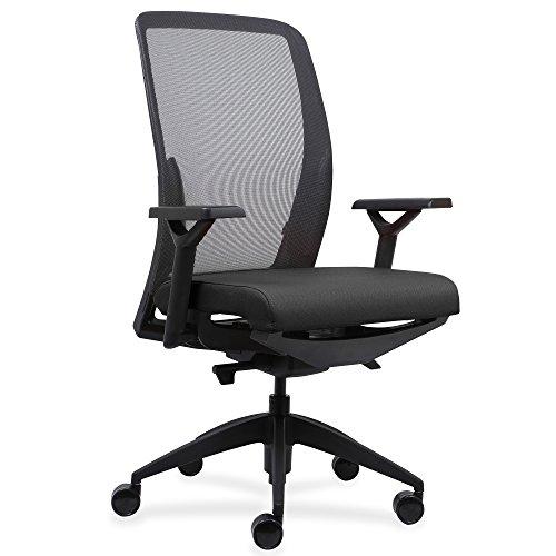 Lorell Executive Mesh Back/Fabric Seat Task Chair - Fabric Black Seat - 26.5