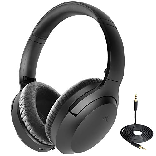2019 New Avantree Aria Bluetooth Active Noise Cancelling Headphones with Mic for Airplane Travel Work, Comfortable fit, Premium Sound, 35H Play Time Wireless ANC Over Ear Headset for Phone Calls, PC