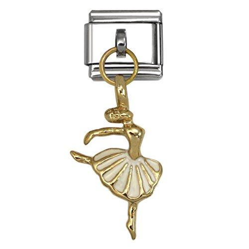 Dangling Ballerina Italian Charm Stainless Steel Bracelet Link