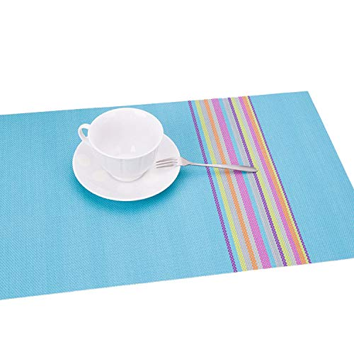 fantasticlife06 4Pcs/Lot PVC Placemat Dining Table Mats Table Bowl Pad Napkin Cup Dining Table Tray Mat Coasters for Christmas Party Table Set,Blue ()