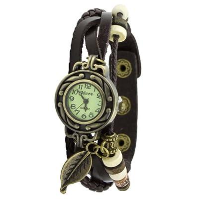 Fashion Ladies Women's Retro Vintage Leather Bracelet Leaf Decor Quartz Wrist Watch Coffee