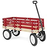 Classic Berlin Flyer Red Wagon for Kids - Amish Made in the USA! Hardwood & Reinforced Steel Body, Rubber Tires, No-Pinch Handle & No-Tip Steering, F310-SS Model