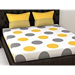 Loreto 144 TC 100% Cotton Double Bedsheet with 2 Pillow Covers – Polka, Yellow & Grey
