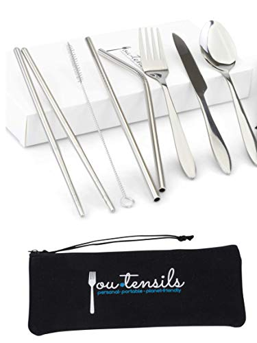 Youtensils by Devine Curator | Portable Travel Utensils with Case | 8-Piece Stainless Steel Cutlery Set | Fork Knife Spoon Chopsticks Straws Cleaning Brush | Eco Flatware for Camping, Work, Travel