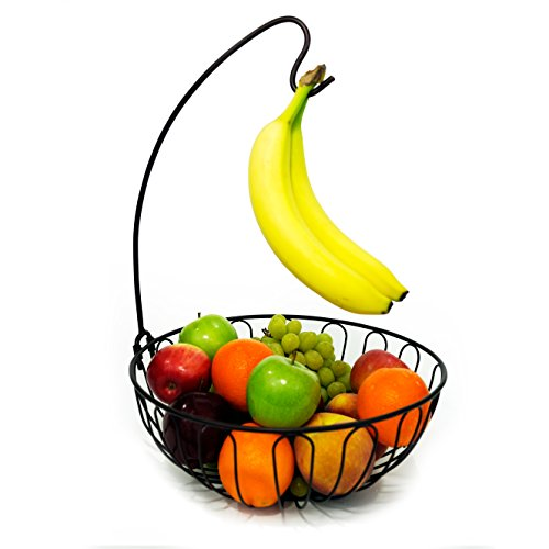 Superiore Livello Bronze Wire Fruit Tree Basketl with Banana Hanger, Elegant and Decorative Fruit Bowl with Banana Hook, Classic Design, Fashionable and Stylish (Classic Bronze Bowl)