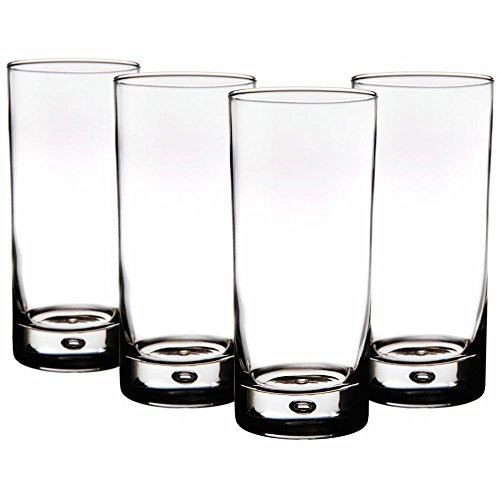 Home Essentials Red Series 17 Oz. Bubble-bottomed Round Cut Highball Drinking Glasses, Set of -