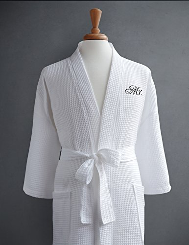Mr. Waffle Weave Bathrobe - 100% Egyptian Cotton - Unisex/One Size Fits Most - Spa Robe, Luxurious, Soft, Plush, Elegant Script Embroidery - Luxor Linens - - Face For Best Eye My Frames