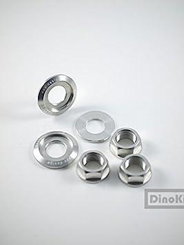 Dino Kiddo Novo, juego de tornillos de aluminio plateado + tuercas de eje trasero de