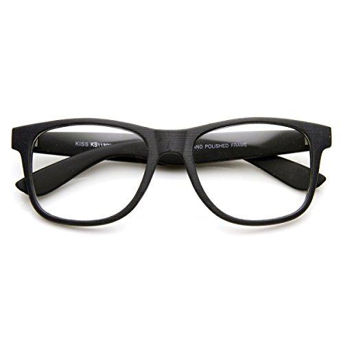 zeroUV - Flat Matte Classic Geek Nerd Glasses Horn Rimmed Eyeglasses UV400 Clear Lens (Black - Glasses Matte Black