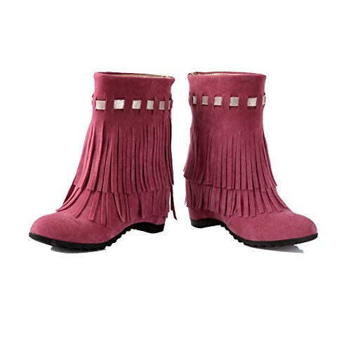 Toe Closed Round Heels Frosted Rosered High Women's on Pull Boots Allhqfashion top Low qpXYgwc
