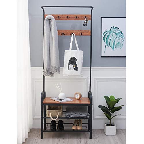 Blissun Entryway Coat Rack, Entryway Shoe Bench, Vintage Coat Rack, Hall Tree with Storage Bench, Barn-Wood Finish with Metal Frame, Perfect for Hallway, Living Room or Bedroom