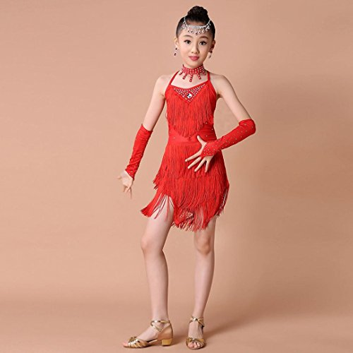 6694bf0cbc05 Fineser Kids Little Girl Dance Costumes Tassel Dancing Latin Rumba ...