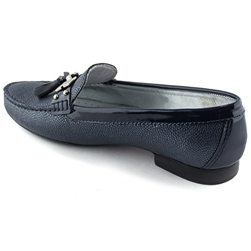 Women's Genuine Leather Made in Brazil Wall Street Tassel Loafer Marc Joseph NY Fashion Shoes Navy Pebble Grainy shop offer cheap price sale many kinds of wiki cheap price V8fOz