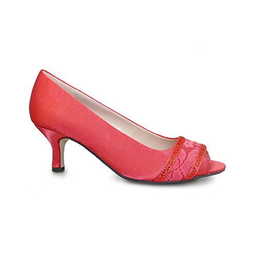 Lunar Women's Casely Peeptoe Satin Court In Black,Grey, Navy or Champagne 3,4,5,6,7,8 Red