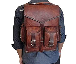 "cuero Brown Vintage Leather Backpack Laptop Messenger Bag Rucksack Sling for Men Women (11"" x 15"")"