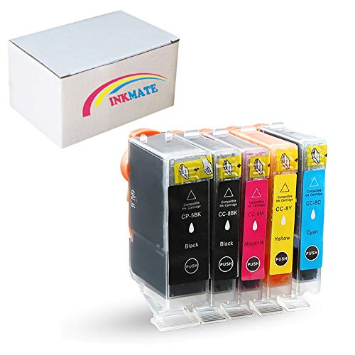 INKMATE Compatible Ink Cartridge Replacement for PGI-5 CLI-8 for Canon PIXMA IP3300 IP4500 IP5200 MP500 MP530 MP600 MP800 MP800R MP810 MP830 MP950 MX700 MX850 1BK/1PB/1M/1C/1Y -