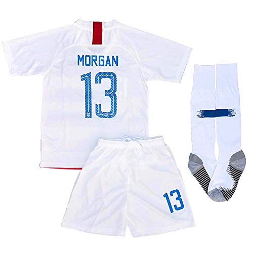 Alex Morgan #13 New 2018-2019 USA National Home Kids/Youth Socce Jersey Matching & Shorts & Socks Color White Size ()