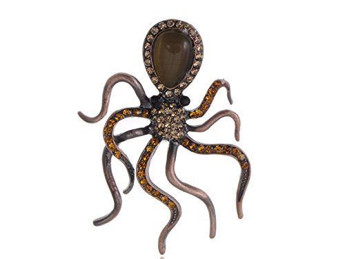 (Alilang Copper Tone Topaz Colored Rhinestones Nautical Octopus Legs Brooch Pin)