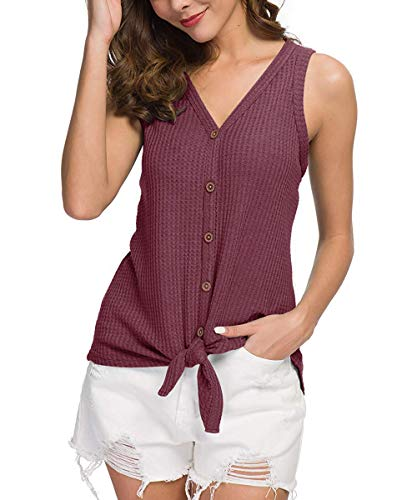 CASILY Womens Summer Sleeveless V Neck Button Down Tie Front Knot Shirts Tops Cameo Brown, -