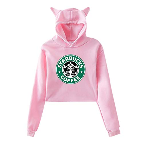 - Womens Casual Cool Classic Logo Cat Ear Sweater for Girls Fashion Long Sleeve Cotton Hoodies for Teens Crop Top Hoodie