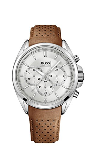 Hugo Boss 1513118 Leather Mens Watch - Silver Dial