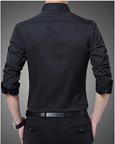 Solide Chemise Tops Fit Homme Slim Affaires Couleur Chaude Shirt Matelassé Polaire Décontractée Doublure Longues Noir Manches 5wqw0YAH
