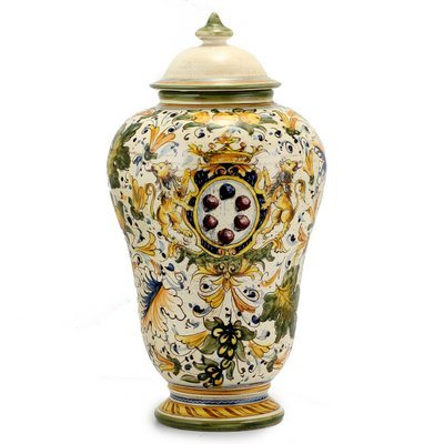 MAJOLICA CAFFAGIOLO: Traditional large Poutiche urn with lid. (Italian Deruta Pottery Urns)