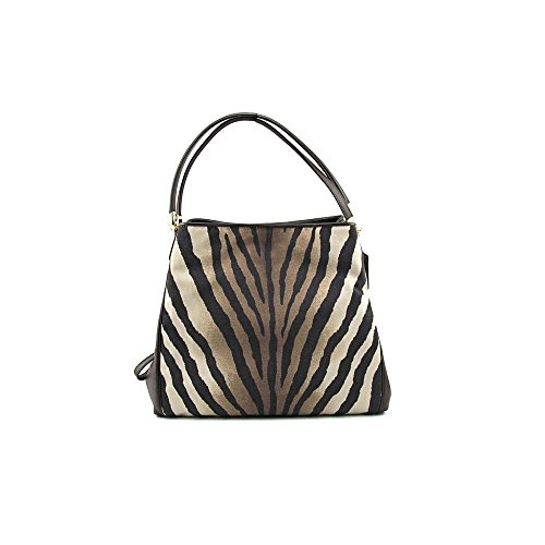 Coach Madison Zebra Print Small Phoebe Shoulder Bag 26636 Brown Multi ()