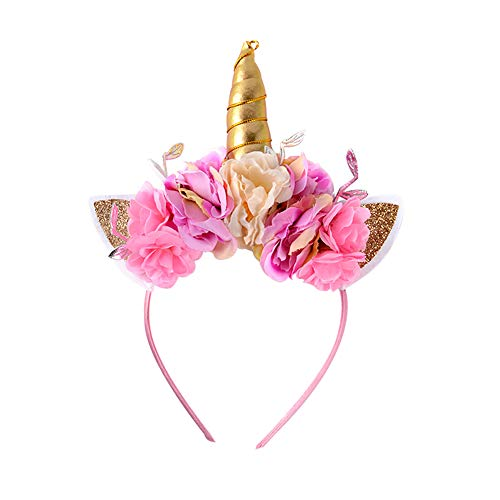Weileenice Unicorn Horn Headband,Flowers Ears Bands Photo Props Girl Birthday Outfit Decoration or Cosplay Costume -