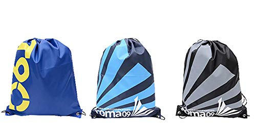 3 Pcs Sports Gmy Cinch Sacks Bulk Backpack Durable Lightweiht Pull String Bags Bulk Pack T90 Blue Black
