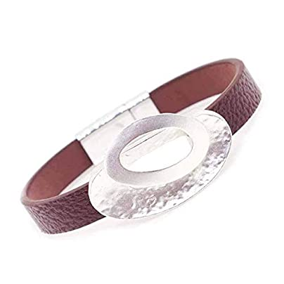 ZUOZUO Leather Wristband Glamour Leather Bracelet Women Cool Buckle Wristband Bracelet And Bracelet Magnet Metal Estimated Price £18.99 -